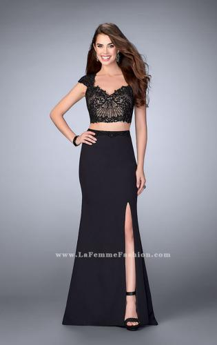 Picture of: Two Piece Prom Dress with Lace Top and Cap Sleeves, Style: 24553, Detail Picture 2