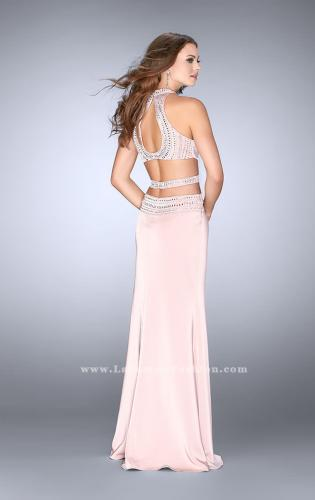 Picture of: High Neck Jersey Dress with Beaded Top and Cut Outs, Style: 24554, Back Picture