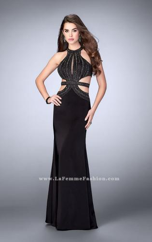 Picture of: High Neck Jersey Dress with Beaded Top and Cut Outs, Style: 24554, Detail Picture 1