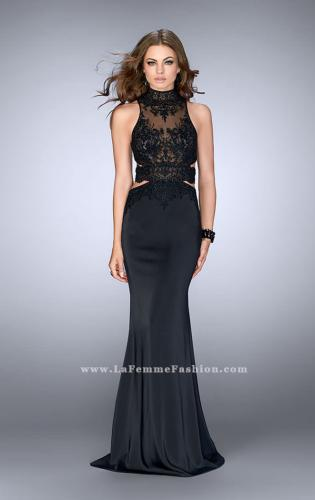 Picture of: High Neck Dress with Sheer Beaded Top and Belt, Style: 24558, Detail Picture 1