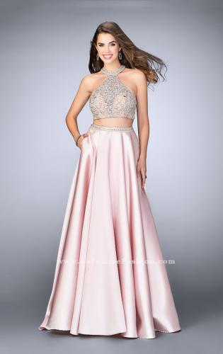Picture of: Two Piece A-line Prom Gown with Full Satin Skirt, Style: 24563, Main Picture