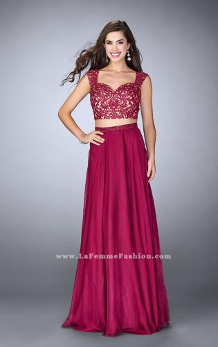 Picture of: Two Piece Chiffon Dress with Lace Top and Beaded Belt, Style: 24564, Main Picture