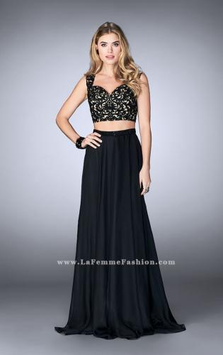 Picture of: Two Piece Chiffon Dress with Lace Top and Beaded Belt, Style: 24564, Detail Picture 1