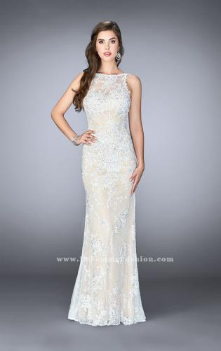 Picture of: Flare Lace Prom Dress with High Neck and Low Back, Style: 24565, Detail Picture 1