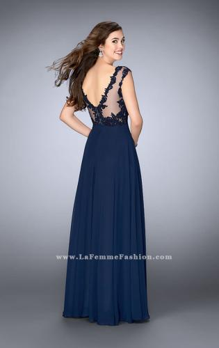 Picture of: A-line Chiffon Prom Dress with Illusion Lace Top, Style: 24572, Back Picture