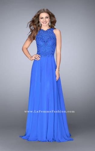 Picture of: Long Chiffon Prom Dress with Sheer Lace Back, Style: 24574, Main Picture