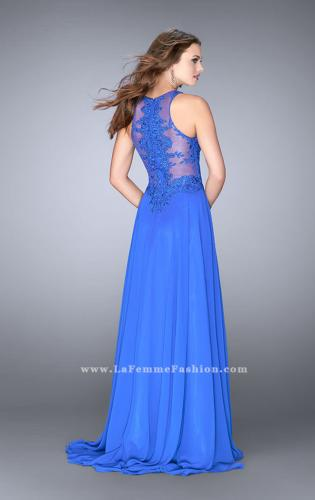 Picture of: Long Chiffon Prom Dress with Sheer Lace Back, Style: 24574, Back Picture