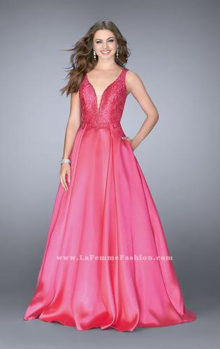 Picture of: Full A-line Mikado Gown with Beaded Deep V Neckline, Style: 24577, Main Picture