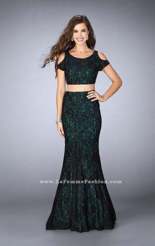 Picture of: Two Piece Cold Shoulder Lace Dress with Beading, Style: 24583, Detail Picture 1