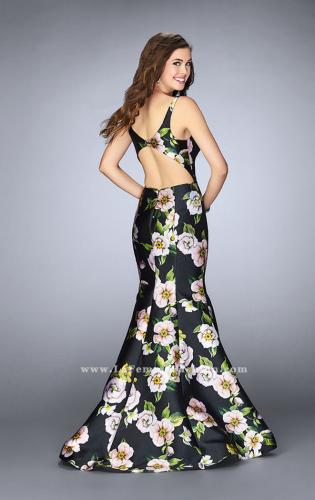 Picture of: Floral Mikado Mermaid Gown with Rectangle Neckline, Style: 24589, Back Picture