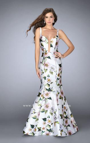 Picture of: Floral Mikado Mermaid Gown with Rectangle Neckline, Style: 24589, Detail Picture 1