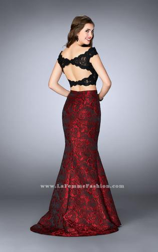 Picture of: Two Piece Prom Dress with Jacquard Flare Skirt, Style: 24646, Back Picture