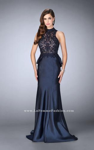 Picture of: High Neck Sheer Lace Dress with Ruffle Back Skirt, Style: 24651, Detail Picture 2