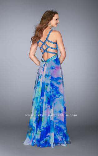 Picture of: Gathered Print Chiffon Gown with Beaded Straps, Style: 24668, Back Picture