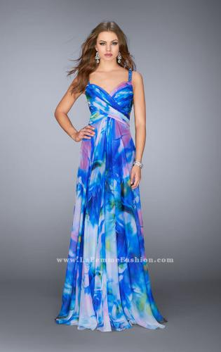 Picture of: Gathered Print Chiffon Gown with Beaded Straps, Style: 24668, Detail Picture 1
