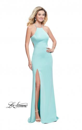 Picture of: Long Halter Prom Dress with Beaded Straps and Slit, Style: 25459, Detail Picture 2