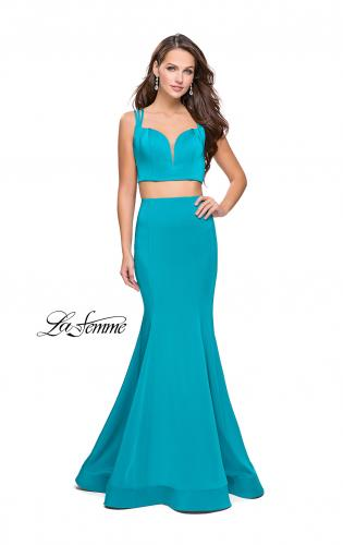 Picture of: Two Piece Jersey Prom Dress with Strappy Back, Style: 25553, Back Picture