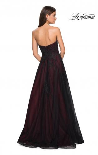 224c9bcf08c ... Picture of  Strapless Sweetheart Black And Red Tulle Prom Dress