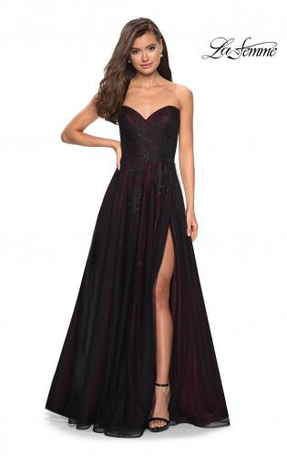 53b5754cff2a ... Picture of: Strapless Sweetheart Black And Red Tulle Prom Dress, Style:  27774,