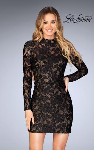 Picture of: Short Lace Homecoming Dress with Open Back, Style: 25024, Main Picture