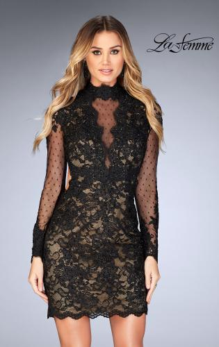 Picture of: Short Lace Dress with Sheer Scalloped Neckline, Style: 25121, Main Picture