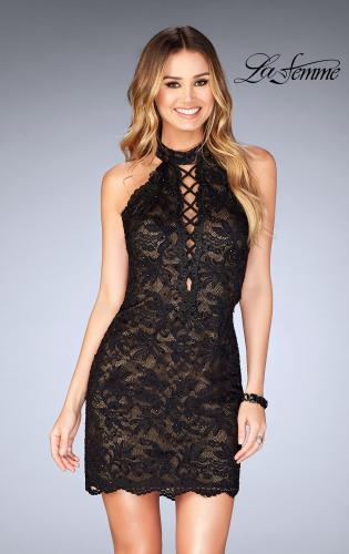 Picture of: Deep V Criss Cross Dress with Tight Lace Skirt, Style: 25130, Main Picture