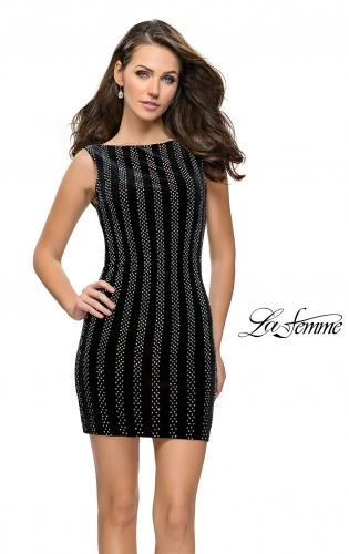 Picture of: Low Scoop Back Short Velvet Dress with Rhinestones, Style: 26687, Main Picture