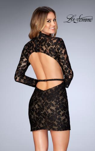 Picture of: Short Lace Homecoming Dress with Open Back, Style: 25024, Back Picture