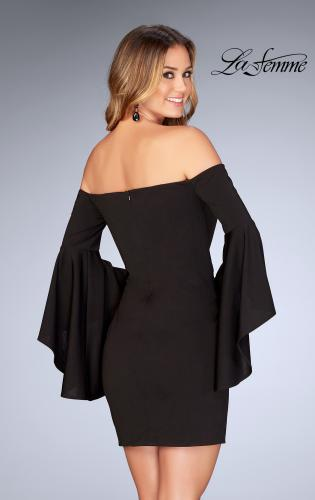 Picture of: Off the Shoulder Ruffle Sleeve Homecoming Dress, Style: 25033, Back Picture