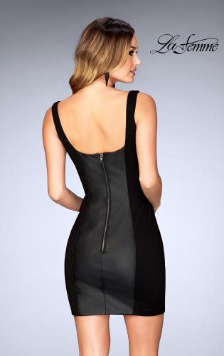 Picture of: Short Leather Homecoming Dress with Jersey Panels, Style: 25050, Back Picture