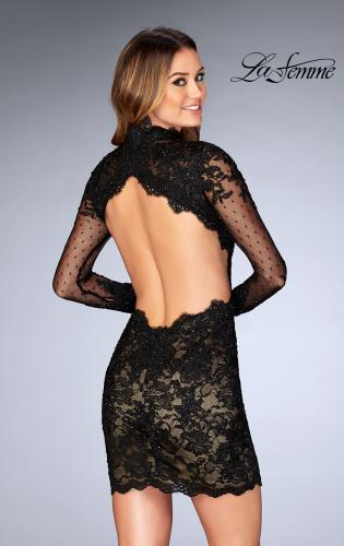 Picture of: Short Lace Dress with Sheer Scalloped Neckline, Style: 25121, Back Picture