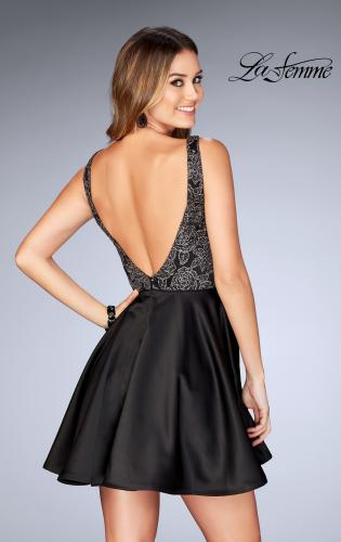 Picture of: Short Satin Homecoming Dress with Cut Outs, Style: 25132, Back Picture