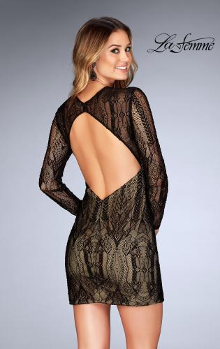 Picture of: Short Lace Dress with Long Sleeves and Open Back, Style: 25289, Back Picture