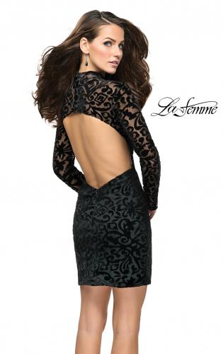 Picture of: Velvet Black Homecoming Dress with Burnout Detail, Style: 26631, Back Picture