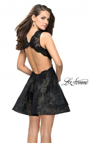 Picture of: Lace Homecoming Dress with Dramatic Plunging Neckline, Style: 26726, Back Picture