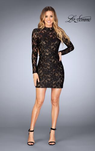 Picture of: Short Lace Homecoming Dress with Open Back, Style: 25024, Detail Picture 1