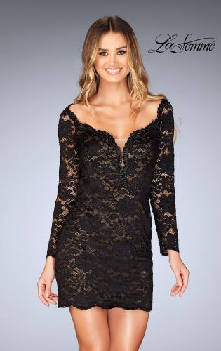 Picture of: Long Sleeve Lace Dress with Deep V Neckline, Style: 25038, Detail Picture 1