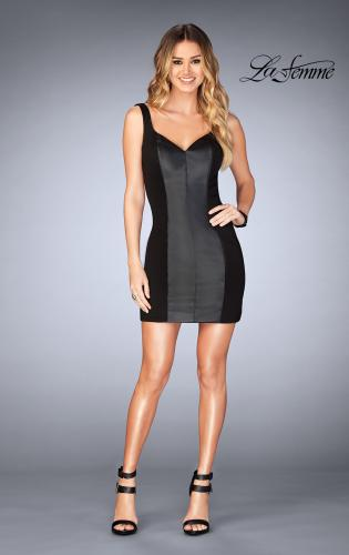 Picture of: Short Leather Homecoming Dress with Jersey Panels, Style: 25050, Detail Picture 1