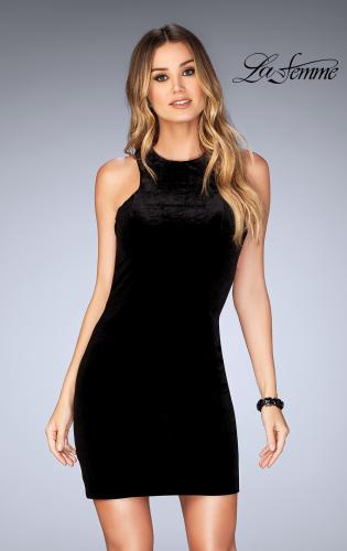 Picture of: High Neck Velvet Short Dress with Strappy Back, Style: 25091, Detail Picture 1