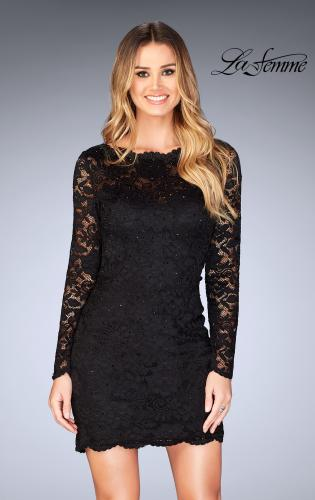 Picture of: Long Sleeve Short Lace Dress with Open Strappy Back, Style: 25134, Detail Picture 1