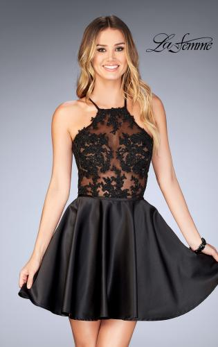 Picture of: Sheer Illusion Dress with Scattered Lace and Short Skirt, Style: 25202, Detail Picture 1