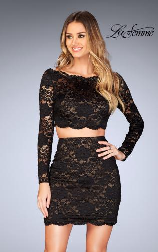 Picture of: Lace Two Piece Dress with Scalloped Neckline, Style: 25301, Detail Picture 1