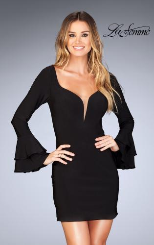 Picture of: Short Jersey Dress with Ruffle Sleeves and Strappy Back, Style: 25366, Detail Picture 1