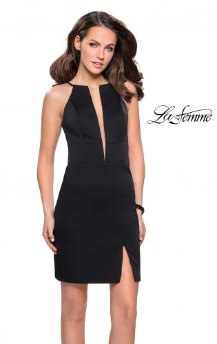 Picture of: Chic Satin Mini Dress with High Neck and Slit, Style: 26657, Detail Picture 1