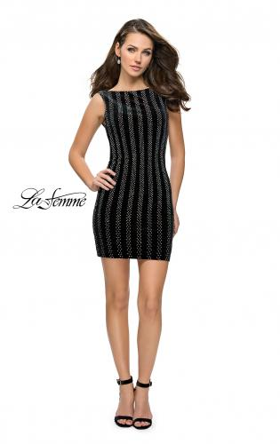 Picture of: Low Scoop Back Short Velvet Dress with Rhinestones, Style: 26687, Detail Picture 1