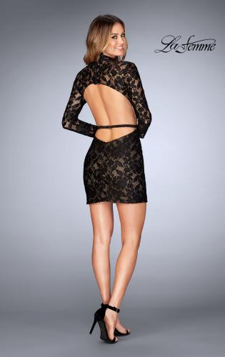 Picture of: Short Lace Homecoming Dress with Open Back, Style: 25024, Detail Picture 2