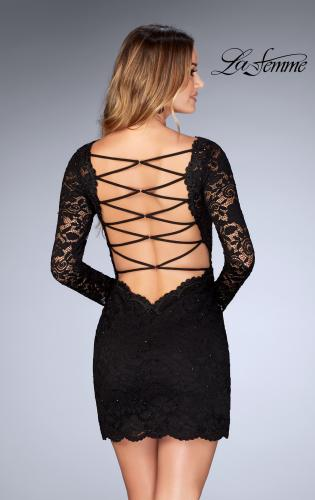 Picture of: Long Sleeve Short Lace Dress with Open Strappy Back, Style: 25134, Detail Picture 2
