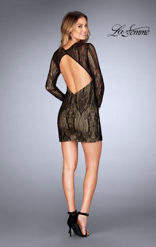 Picture of: Short Lace Dress with Long Sleeves and Open Back, Style: 25289, Detail Picture 2