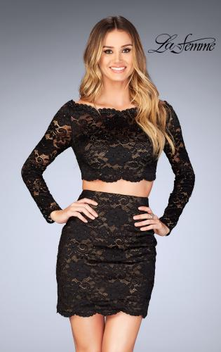 Picture of: Lace Two Piece Dress with Scalloped Neckline, Style: 25301, Detail Picture 2