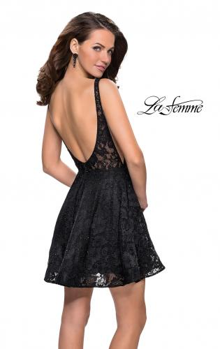 Picture of: Lace Short Dress with Rhinestones and Pockets, Style: 26616, Detail Picture 2